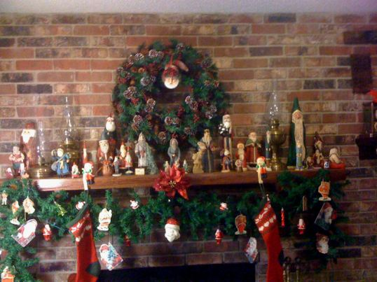 Vintage Santas on Mantel